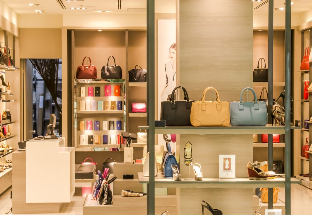 A store full of luxurious bags and other fashion stuffs
