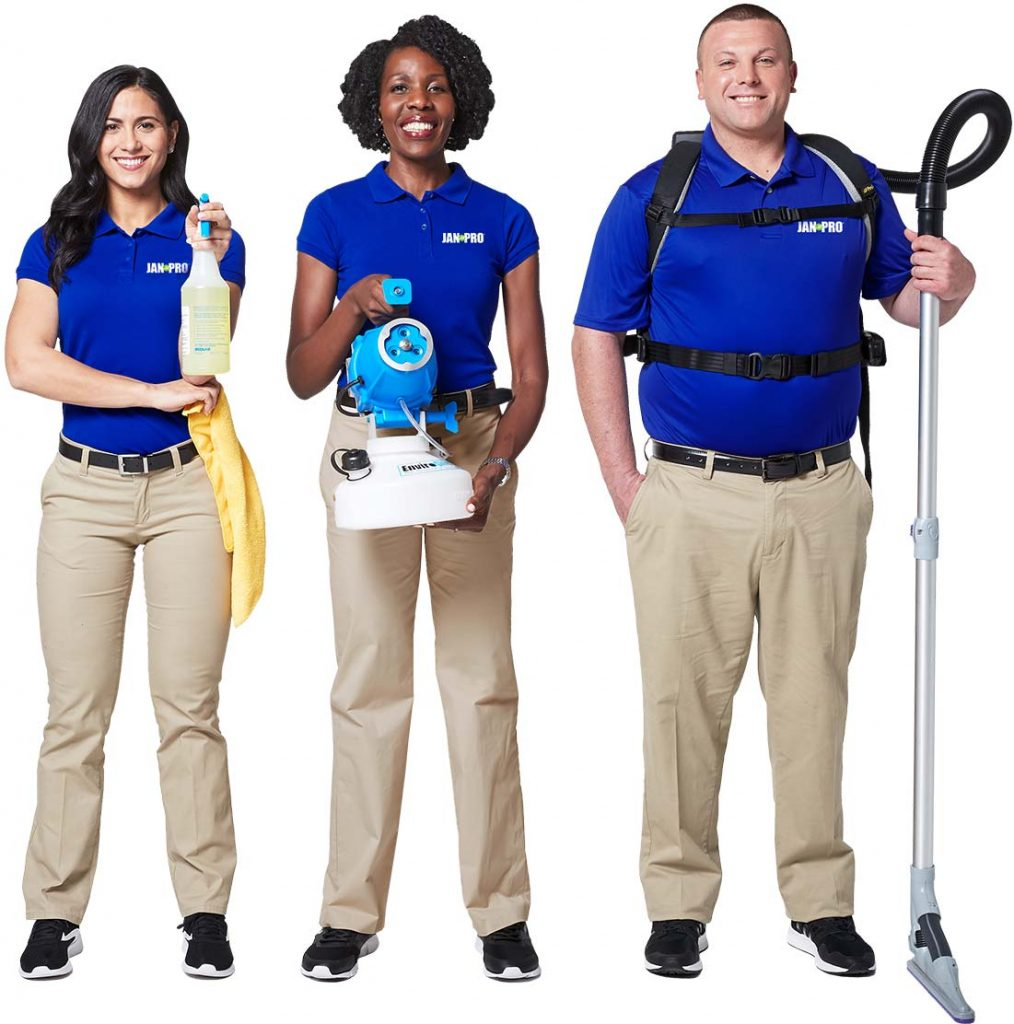 JAN-PRO professional cleaning team in uniform with cleaning equipment