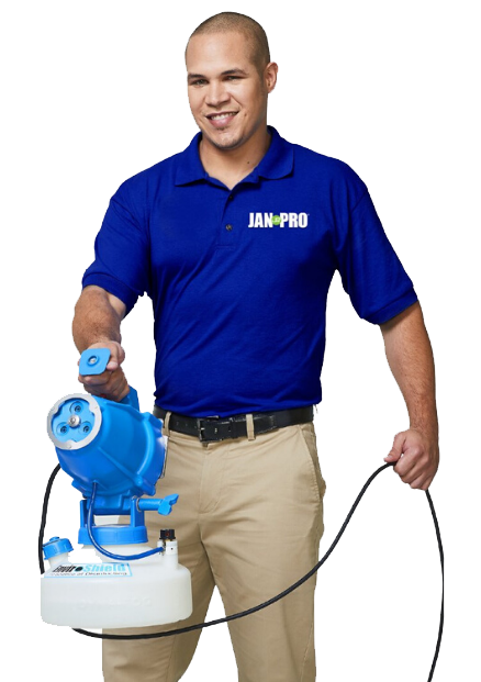 JAN-PRO employee holding Enviroshield