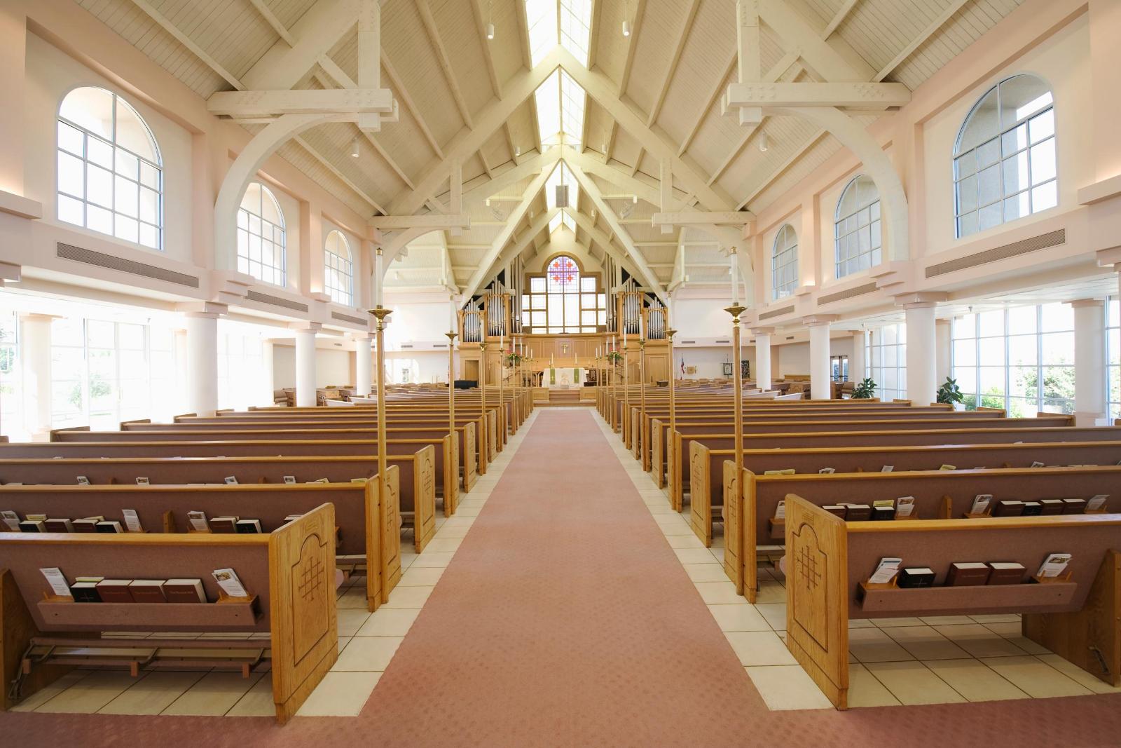 A hallway of an empty church