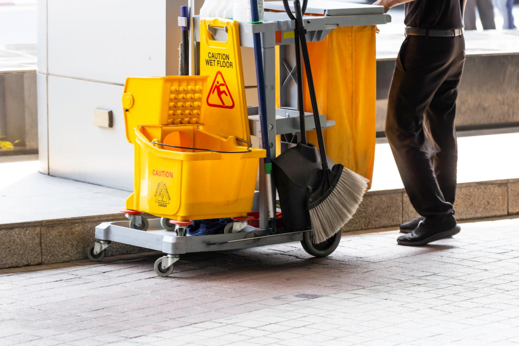 A cart full of cleaning equipments